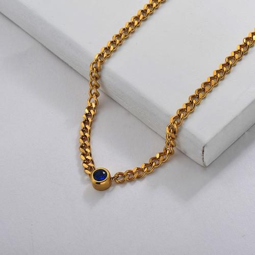 Blue Zircon Fashion Chain Necklace