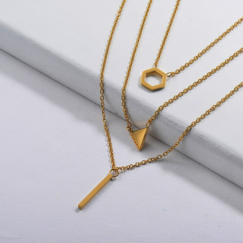 Gold Plated Dainty Multilayred Necklace003