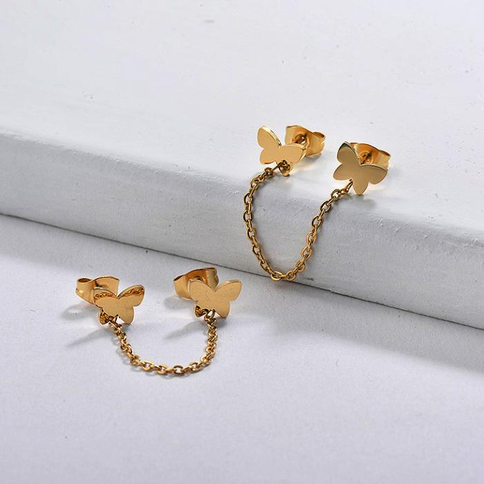 Butterfly Chain Stud Earrings
