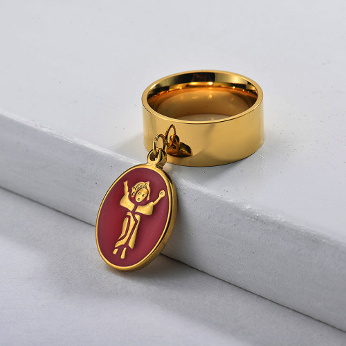 Stainless Steel Wide Band Divine Infant Charm Ring