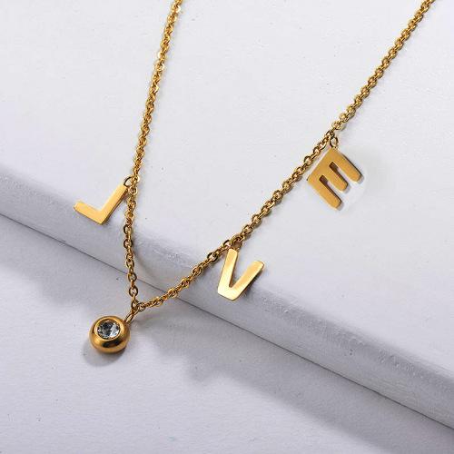 Collar Love de acero inoxidable chapado en oro para mujer