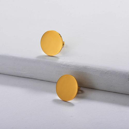 Pendiente De Botón Redondo Simple Chapado En Oro