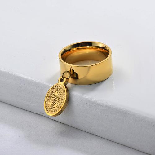 Bague San Benito à large bande plaquée or