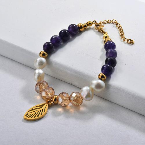 Bracelets de perles avec breloque en perles d'eau douce005