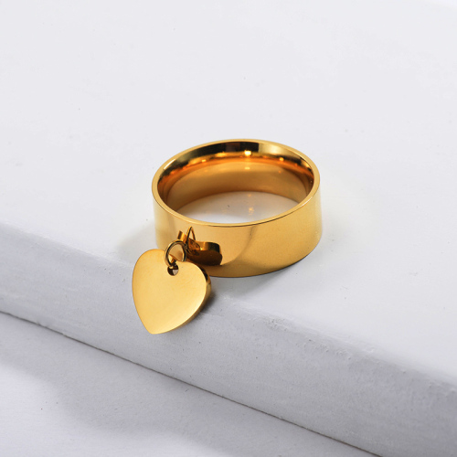 Gold Plated Wide Band Heart Ring