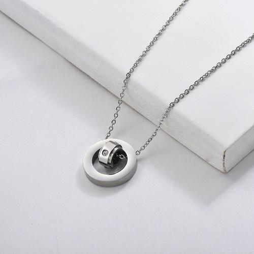 Collier à pendentif cercle croisé simple