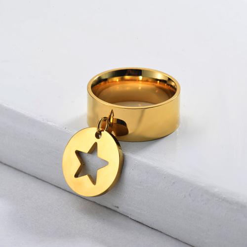 Anillo Estrella De Banda Ancha Chapado En Oro