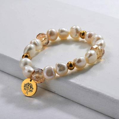 Pulseras de abalorios de perlas de agua dulce Árbol genealógico de la vida