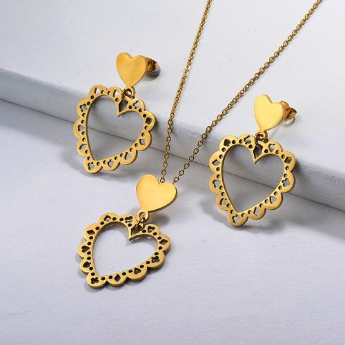 Conjuntos de joyas de corazón chapados en oro
