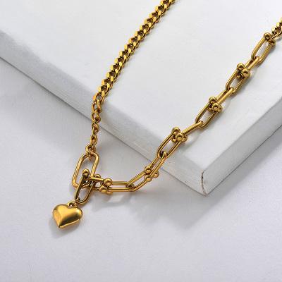 T Chain Heart Pendant Necklace