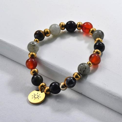 Semi Precious Stone Beaded Bracelet with Charm