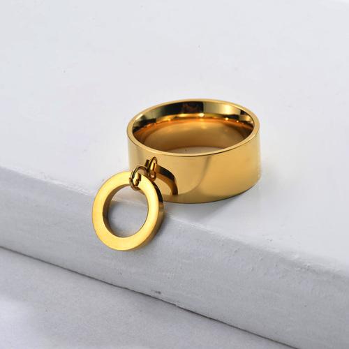 Anillo circular de banda ancha chapado en oro