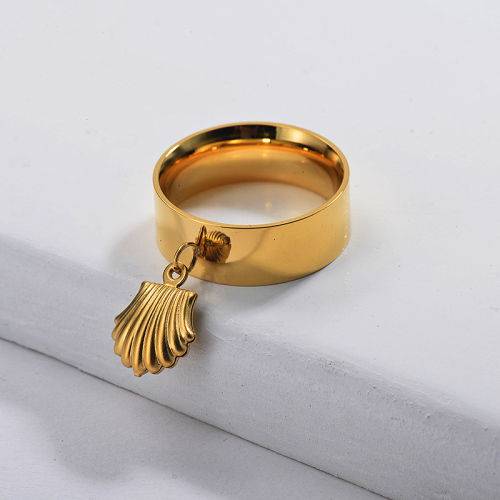Gold Plated Wide Band Leaf Ring