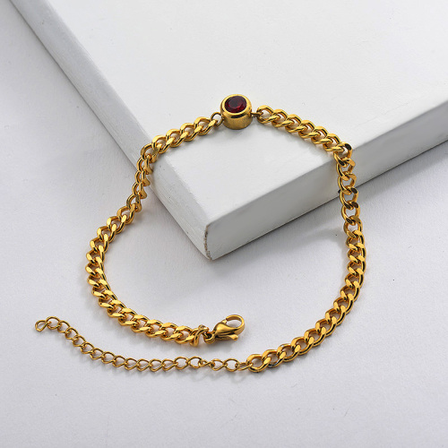 Zircon Charm Chain Bracelet in Stainless Steel