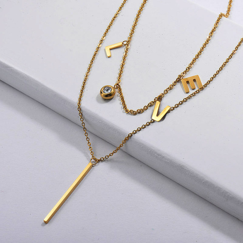 Gold Plated Double layer Love Necklace