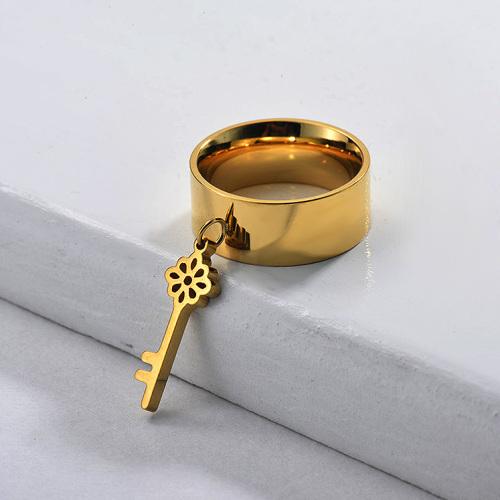 Porte-clés large bande plaqué or