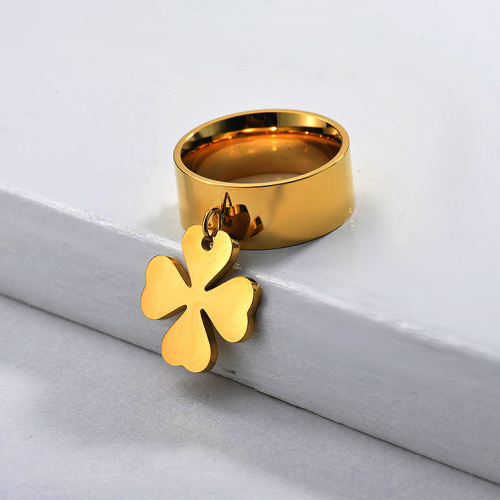 Stainless Steel Wide Band Clover Charm Ring