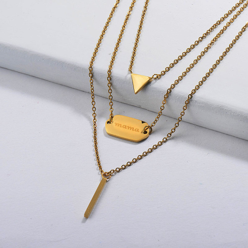 18k Gold Plated Triangle Bar Necklace Multi Layered