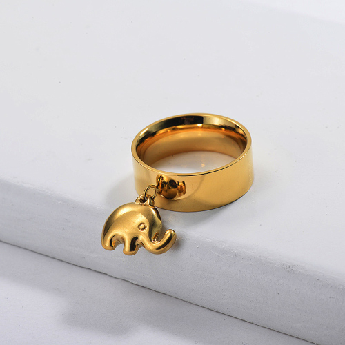 Gold Plated Wide Band Ring with Elephant Charm