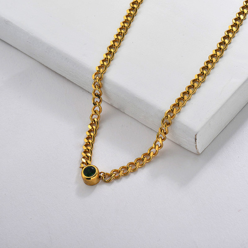 Emereld Zircon Charm Chain Necklace