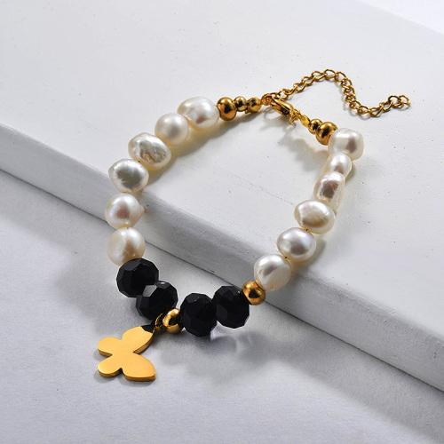 Pulseras de abalorios con perlas de agua dulce