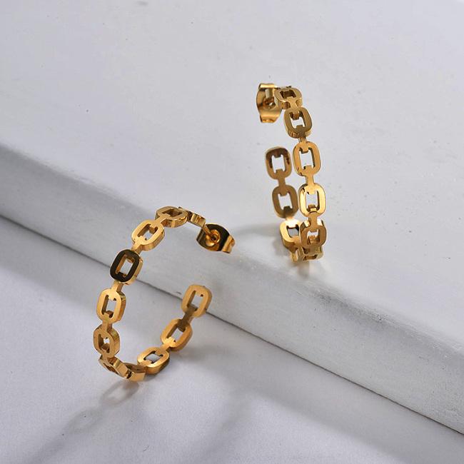 Boucle d'oreille à anneaux de chaîne