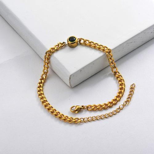 Zircon Charm Chain Bracelet in Stainless Steel