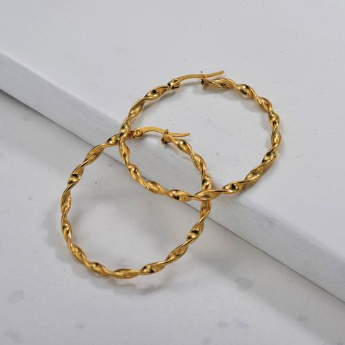 Gold Plated Jewelry Twist Design Stainless Steel Hoop Earrings 48*3mm