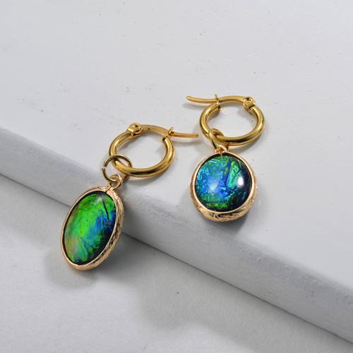 Pendientes de ópalo de imitación de moda de diseño de joyería chapados en oro