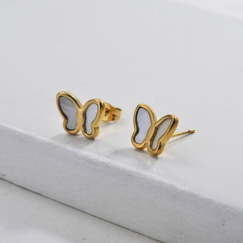 Gold Plated Jewelry Design Fashion Stainless Steel Butterfly Earrings