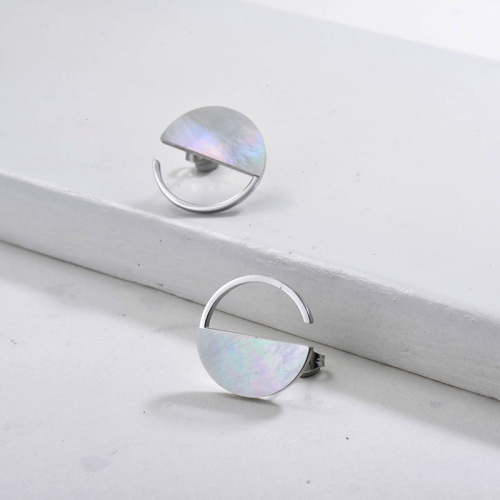 Silver Plated Stainless Steel Jewelry Mother of Pearl Shell Stud Earrings