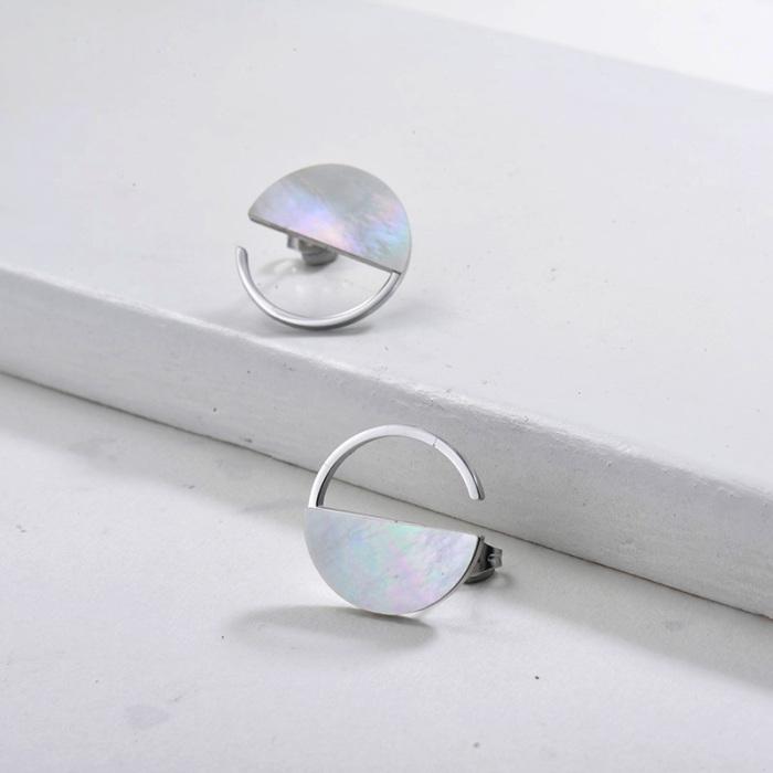 Bijoux en acier inoxydable plaqué argent Boucles d'oreilles en nacre