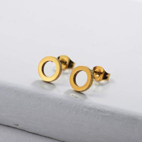 Pendientes de círculo de acero inoxidable con diseño de personalidad de joyería chapada en oro