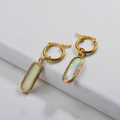 Pendientes de ópalo sintético de moda de diseño de joyería chapados en oro