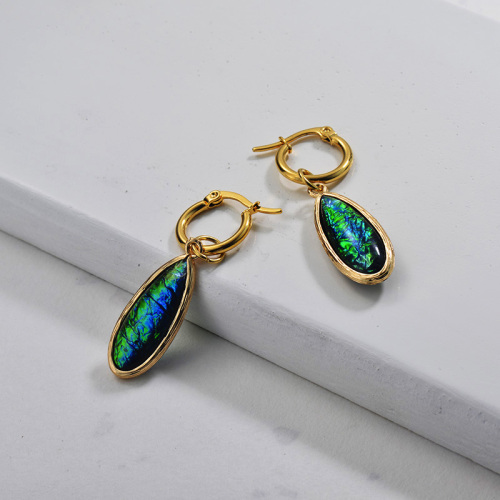 Gold Plated Jewelry Design Fashion Stainless Steel Imitation Opal Earrings
