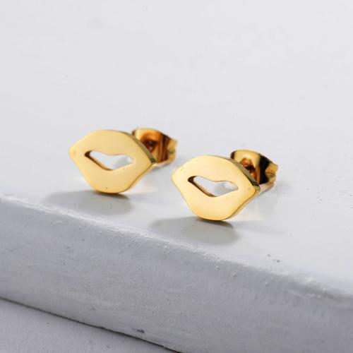 Joyería chapada en oro Diseño de personalidad Pendientes con estampado de labios de estilo lindo de acero inoxidable