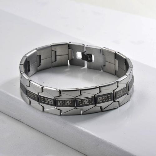 pulsera de modelos de explosion moda en acero negro y plateado inoxidable para hombre -SSBTG1154523