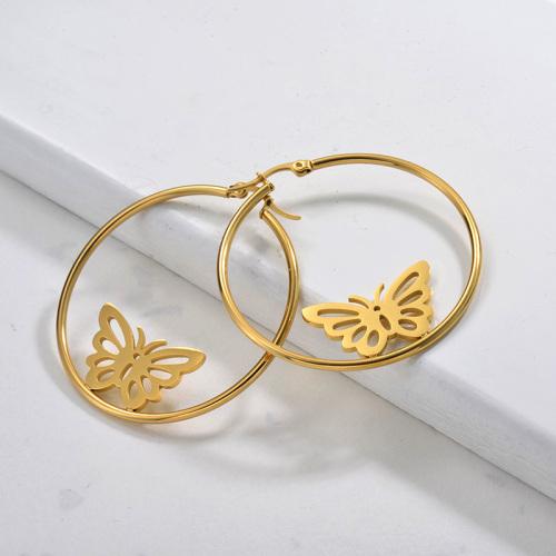 Pendientes de aro de mariposa de acero inoxidable con joyas chapadas en oro