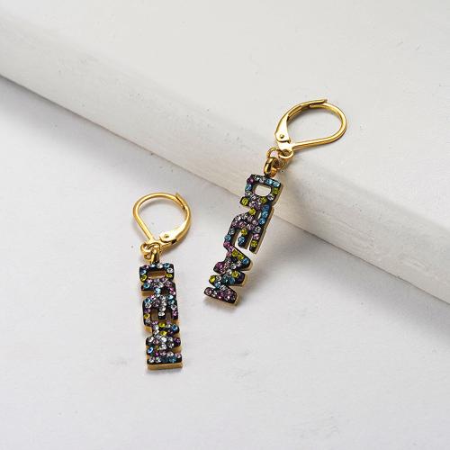 Pendientes de diamantes DREAM de acero inoxidable con diseño de joyería chapados en oro