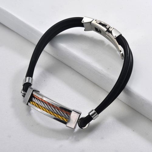 negro brazalete de cuero en acero inoxidable para hombre-SSBTG942828
