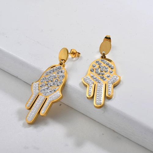 Pendientes colgantes de la mano de la suerte del acero inoxidable de la moda del diseño de la joyería chapada en oro