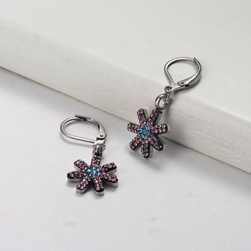 Silver Stainless Steel Jewelry Simple Style Diamond Flower Earrings