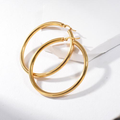 مجوهرات مطلية بالذهب أقراط من الفولاذ المقاوم للصدأ 58 ملم