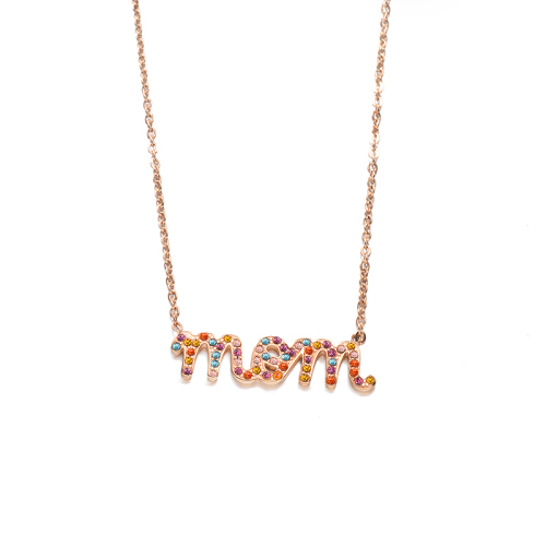 Fashion colorful diamond style rose gold necklace