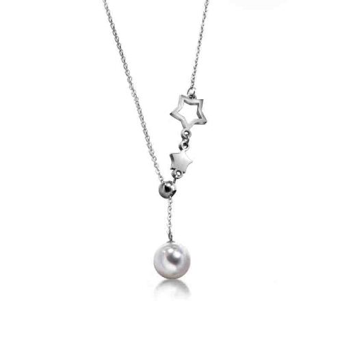 Elegant Adjustable Silver Star Charm With Natural Pearl Necklace