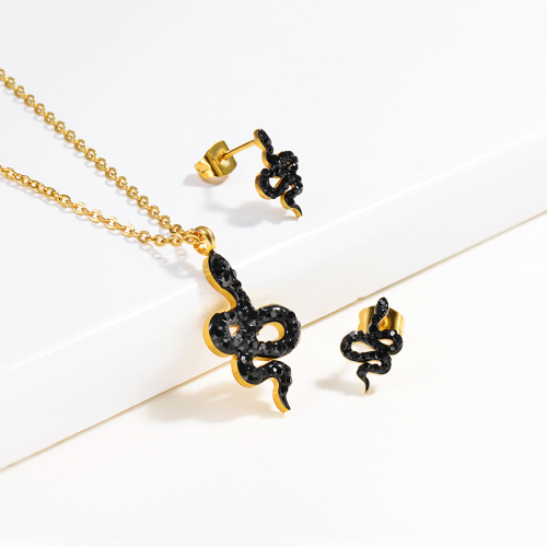Stainless Steel Gold Snake Jewelry Sets -SSCSG143-13002-G
