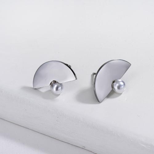 Pearl Earrings in Stainless Steel -SSEGG143-7162