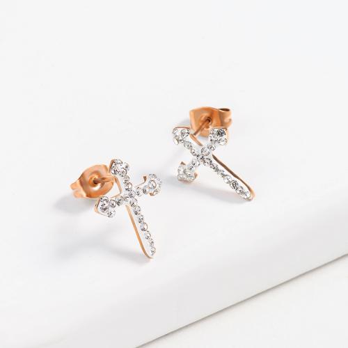 Pendientes de botón de cruz de acero inoxidable con diseño Siemple de joyería chapada en oro rosa