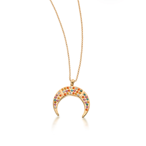 Moon fashion color diamond style gold necklace