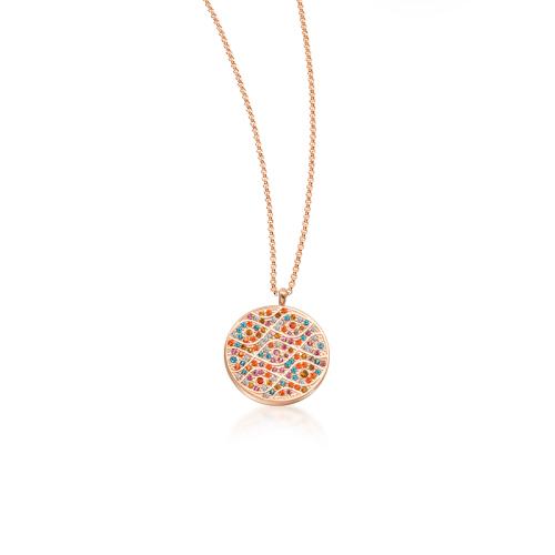Collar redondo de oro rosa con diamantes de color y estilo de moda